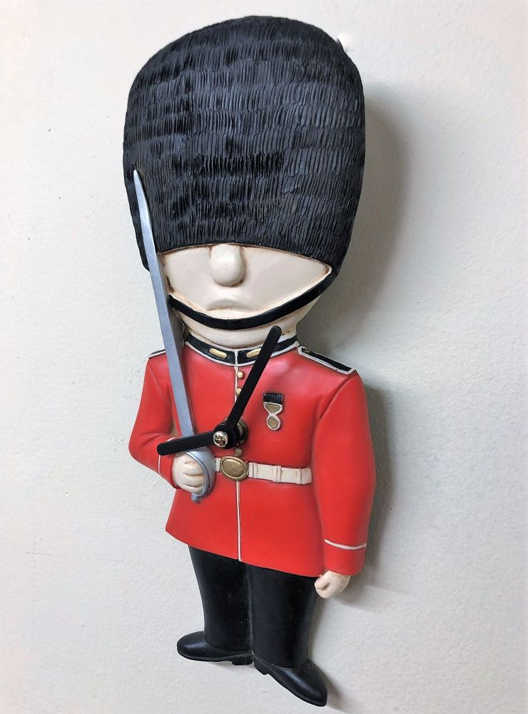 Red GB Royal Guardsman Soldier Wall Clock